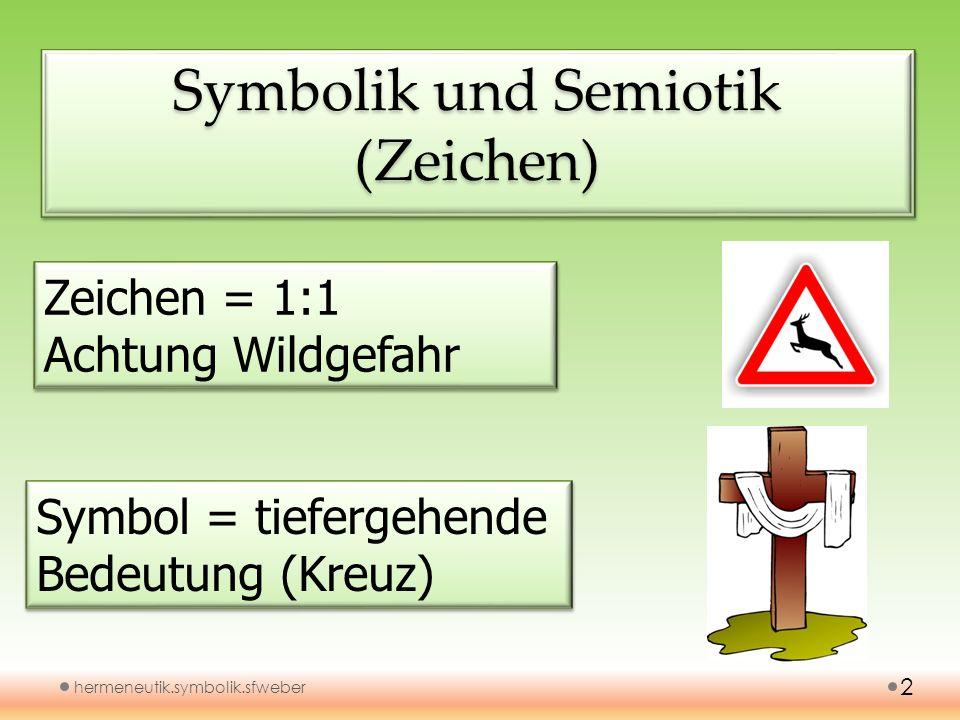 Symbolik und Semiotik (Zeichen) hermeneutik.symbolik.sfweber 2 Zeichen = 1:1 Achtung Wildgefahr Zeichen = 1:1 Achtung Wildgefahr Symbol = tiefergehend