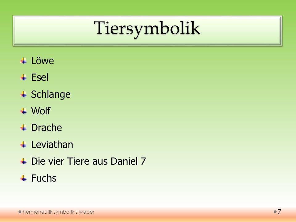 TiersymbolikTiersymbolik hermeneutik.symbolik.sfweber 7 Löwe Esel Schlange Wolf Drache Leviathan Die vier Tiere aus Daniel 7 Fuchs