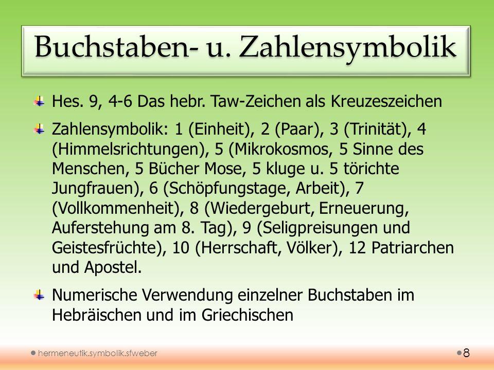 Buchstaben- u. Zahlensymbolik hermeneutik.symbolik.sfweber 8 Hes. 9, 4-6 Das hebr. Taw-Zeichen als Kreuzeszeichen Zahlensymbolik: 1 (Einheit), 2 (Paar