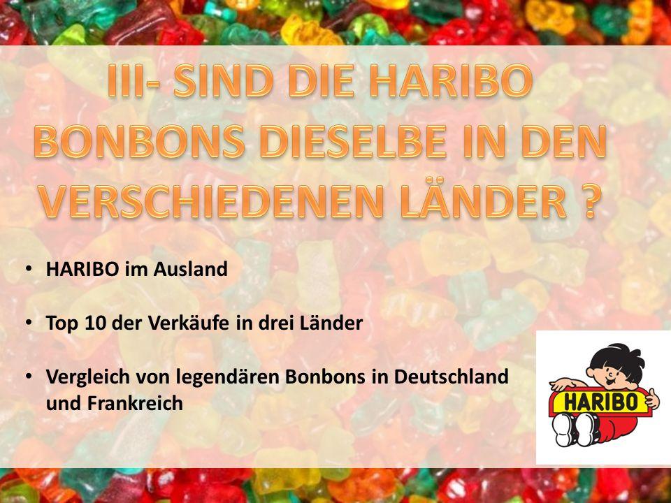 HARIBO im Ausland Top 10 der Verkäufe in drei Länder Vergleich von legendären Bonbons in Deutschland und Frankreich