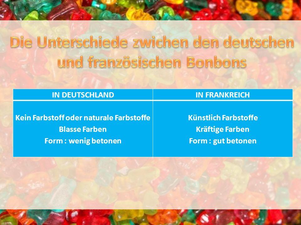IN DEUTSCHLANDIN FRANKREICH Kein Farbstoff oder naturale Farbstoffe Blasse Farben Form : wenig betonen Künstlich Farbstoffe Kräftige Farben Form : gut