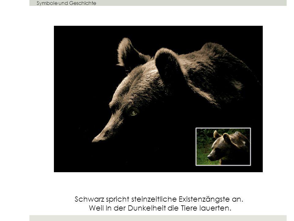 Symbole und Geschichte Schwarz spricht steinzeitliche Existenzängste an. Weil In der Dunkelheit die Tiere lauerten.