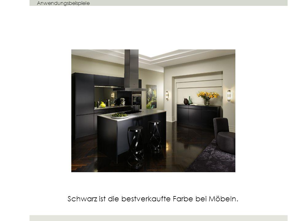 Schwarz ist die bestverkaufte Farbe bei Möbeln. Anwendungsbeispiele