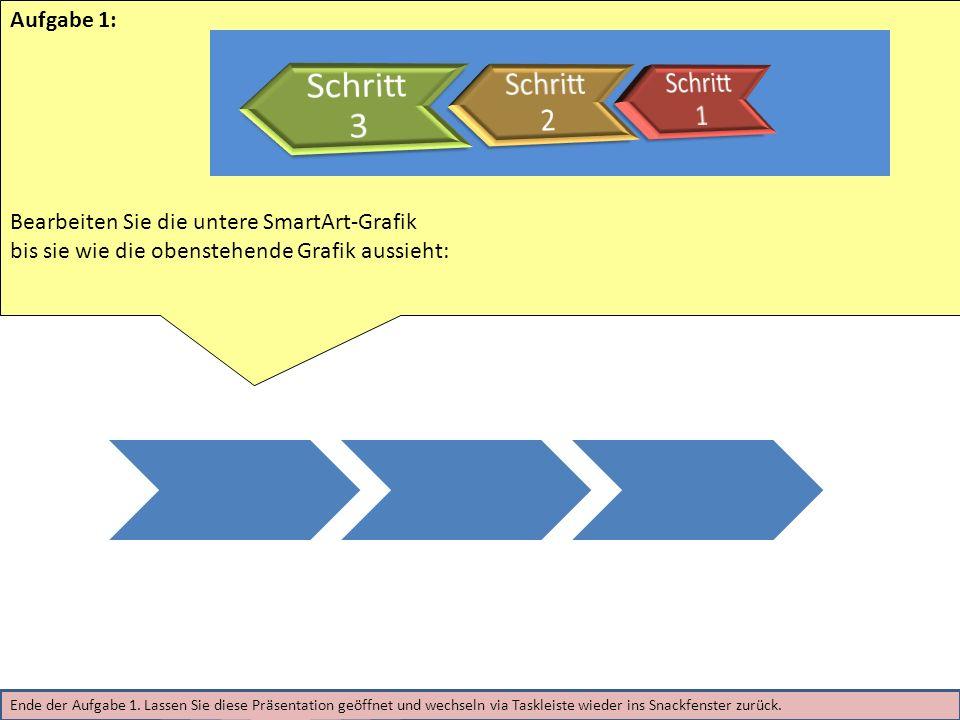 Aufgabe 1: Bearbeiten Sie die untere SmartArt-Grafik bis sie wie die obenstehende Grafik aussieht: Ende der Aufgabe 1.