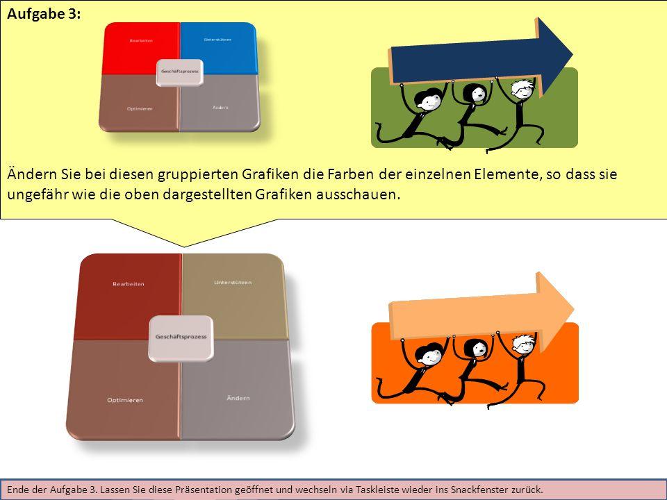 Aufgabe 3: Ändern Sie bei diesen gruppierten Grafiken die Farben der einzelnen Elemente, so dass sie ungefähr wie die oben dargestellten Grafiken ausschauen.