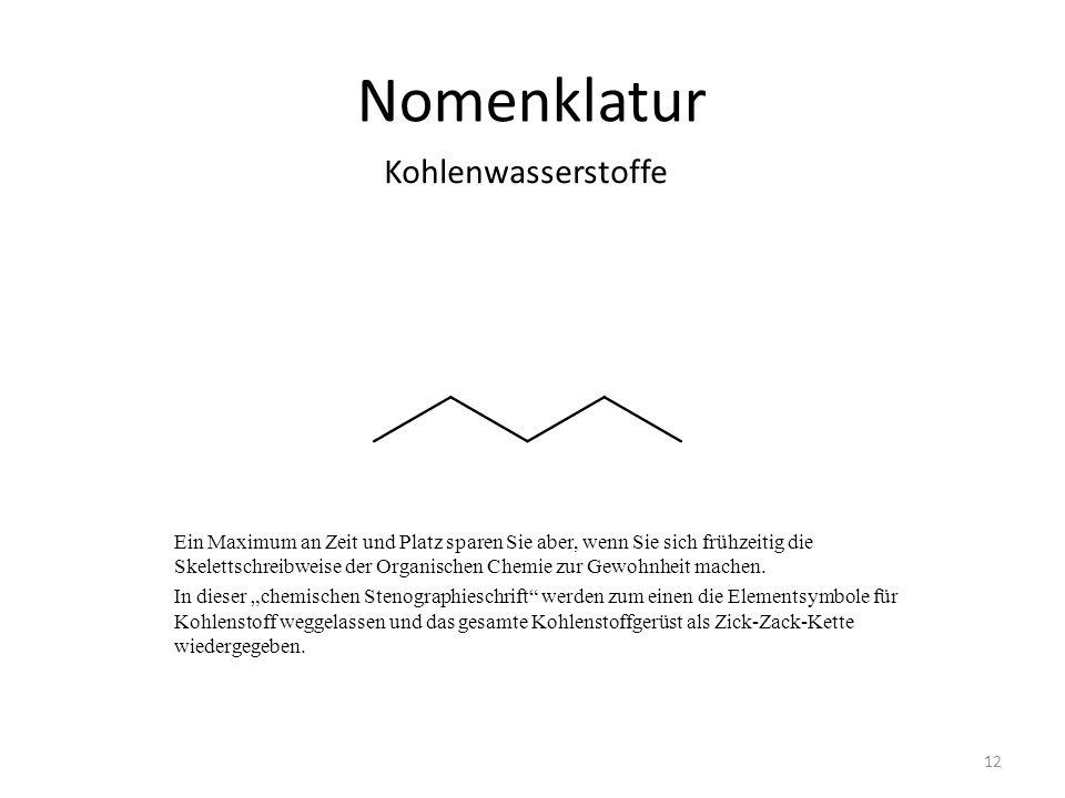 Nomenklatur Kohlenwasserstoffe 12 Ein Maximum an Zeit und Platz sparen Sie aber, wenn Sie sich frühzeitig die Skelettschreibweise der Organischen Chemie zur Gewohnheit machen.