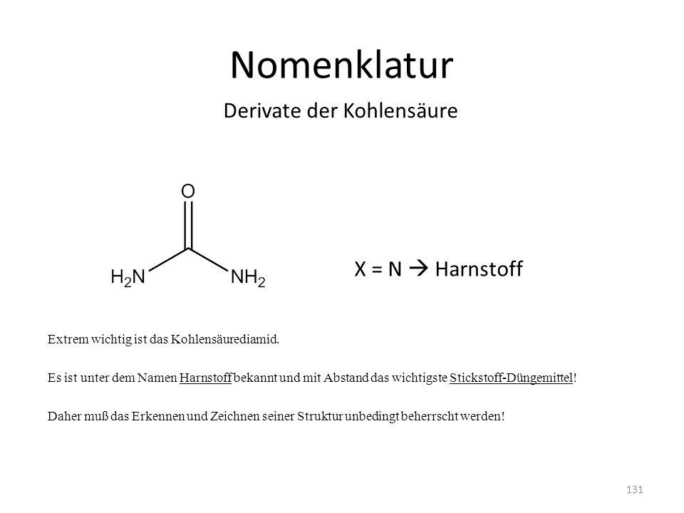 Nomenklatur Extrem wichtig ist das Kohlensäurediamid. Es ist unter dem Namen Harnstoff bekannt und mit Abstand das wichtigste Stickstoff-Düngemittel!