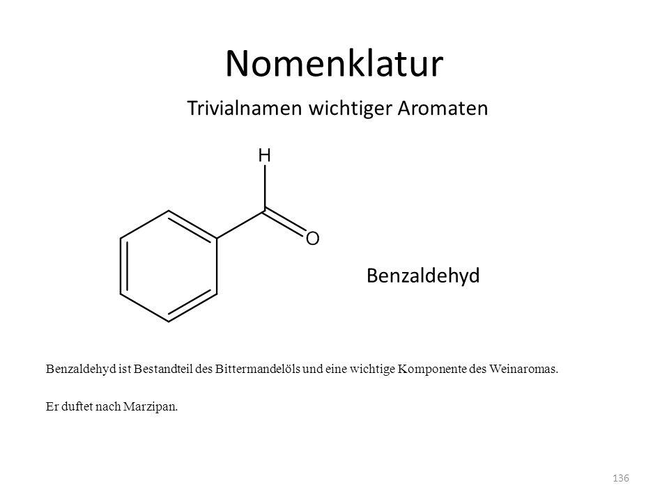 Nomenklatur Benzaldehyd ist Bestandteil des Bittermandelöls und eine wichtige Komponente des Weinaromas. Er duftet nach Marzipan. Trivialnamen wichtig