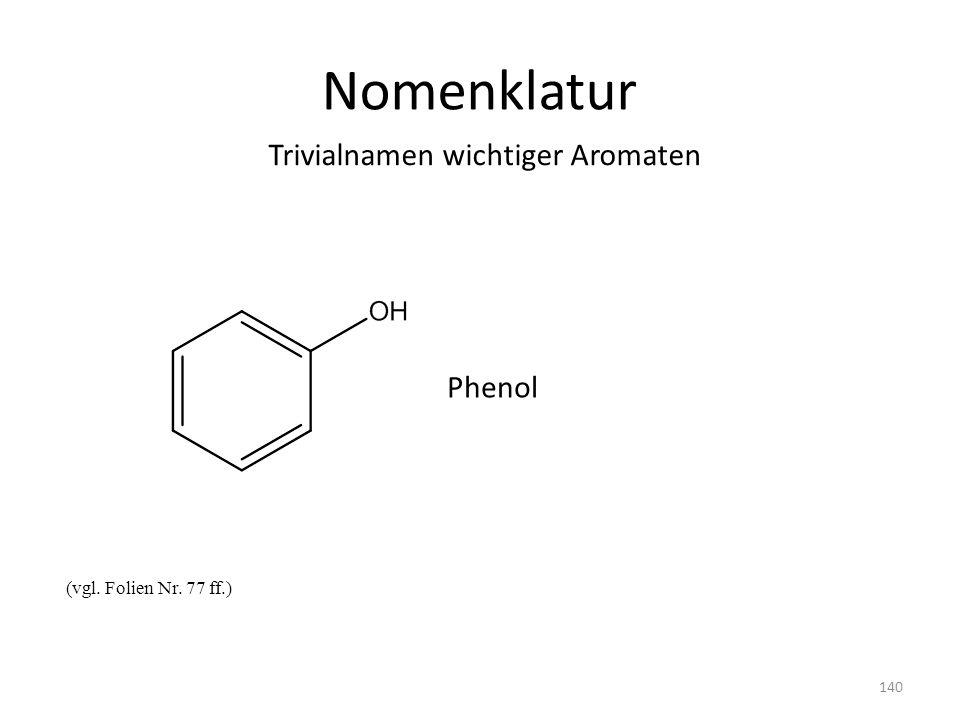 Nomenklatur (vgl. Folien Nr. 77 ff.) Trivialnamen wichtiger Aromaten Phenol 140