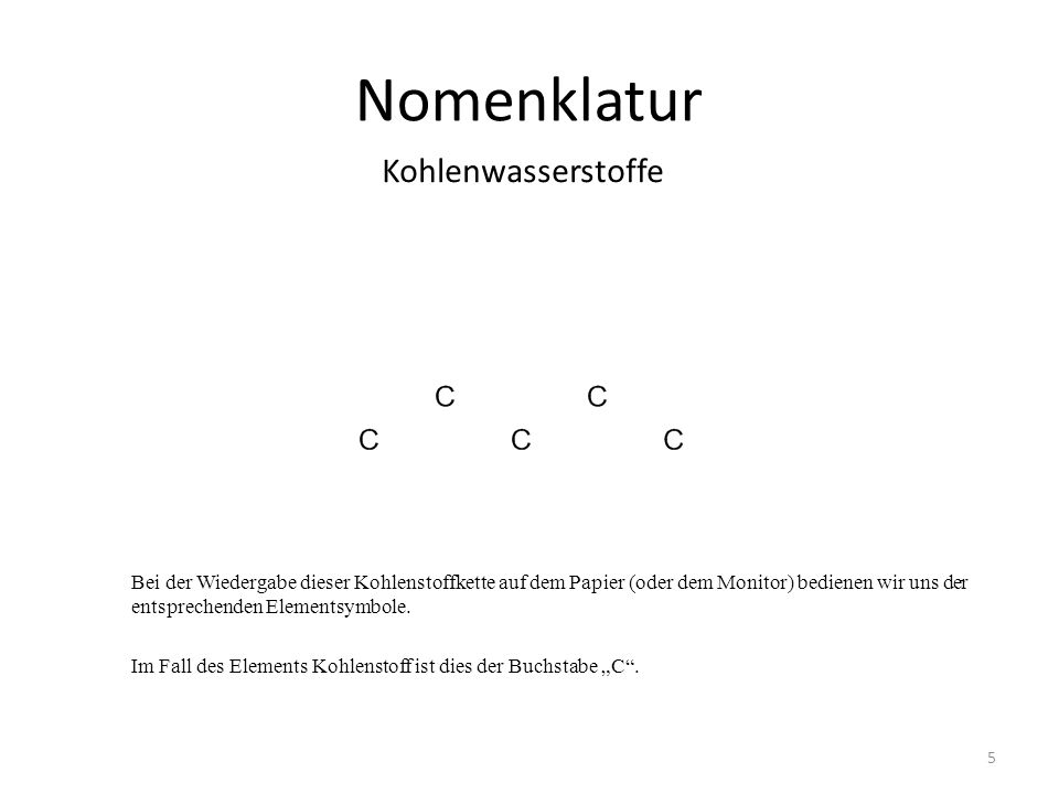 Nomenklatur Bei der Wiedergabe dieser Kohlenstoffkette auf dem Papier (oder dem Monitor) bedienen wir uns der entsprechenden Elementsymbole.