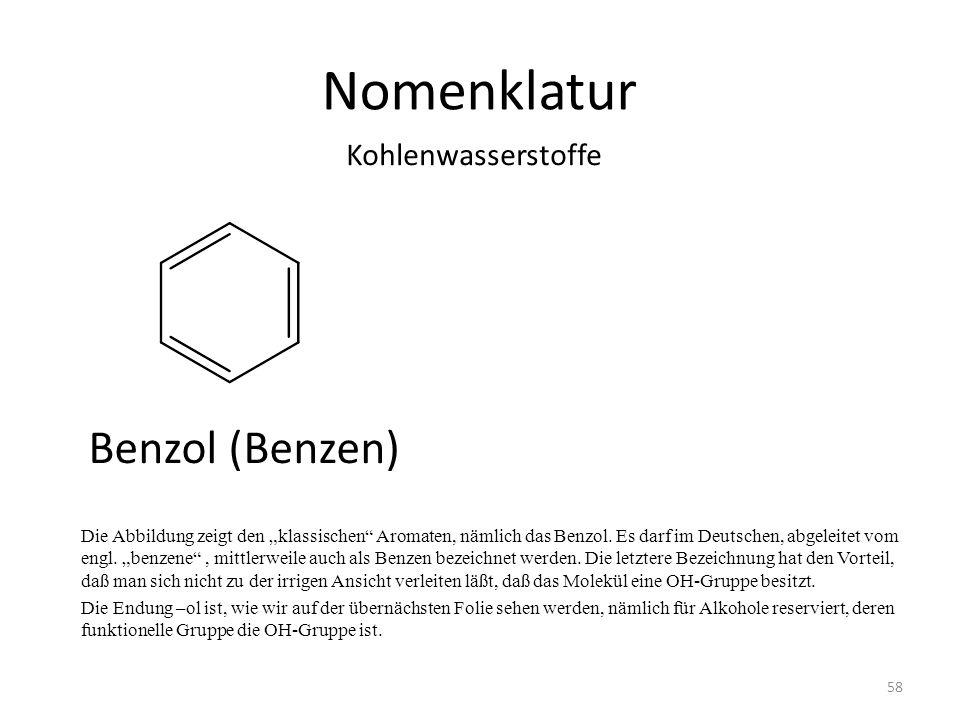 Nomenklatur Die Abbildung zeigt den klassischen Aromaten, nämlich das Benzol. Es darf im Deutschen, abgeleitet vom engl. benzene, mittlerweile auch al