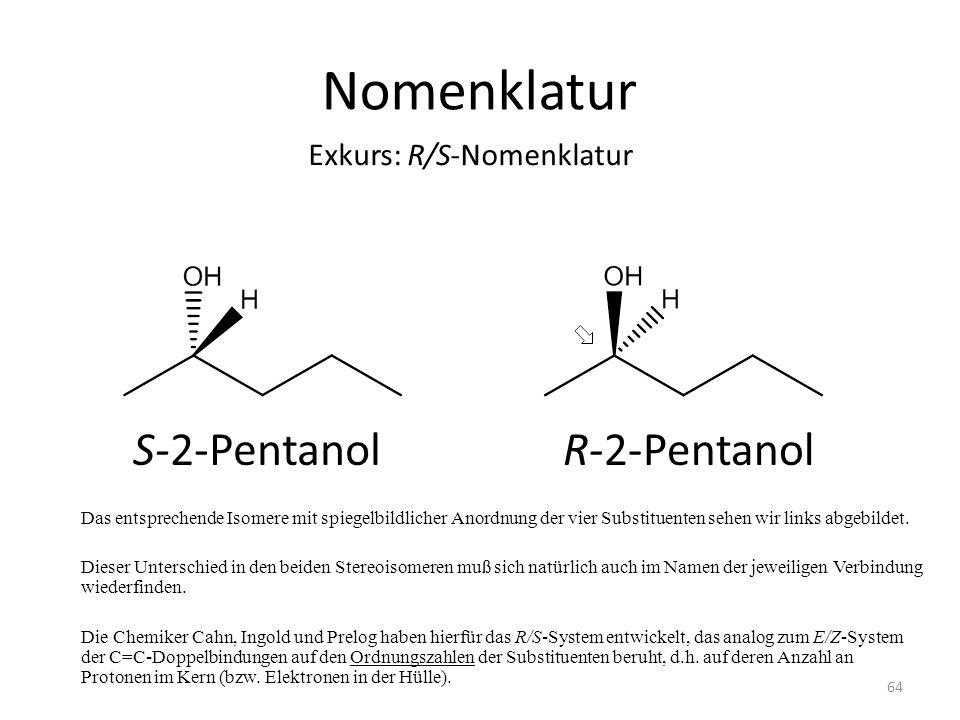 Nomenklatur Das entsprechende Isomere mit spiegelbildlicher Anordnung der vier Substituenten sehen wir links abgebildet. Dieser Unterschied in den bei
