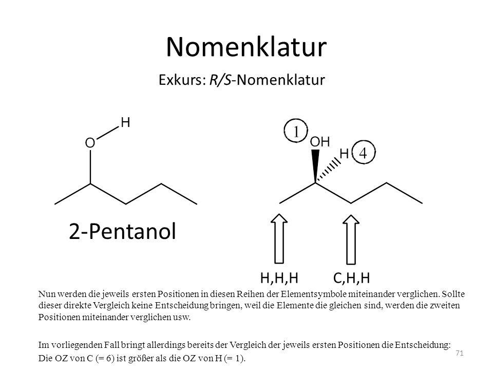 Nomenklatur Nun werden die jeweils ersten Positionen in diesen Reihen der Elementsymbole miteinander verglichen. Sollte dieser direkte Vergleich keine