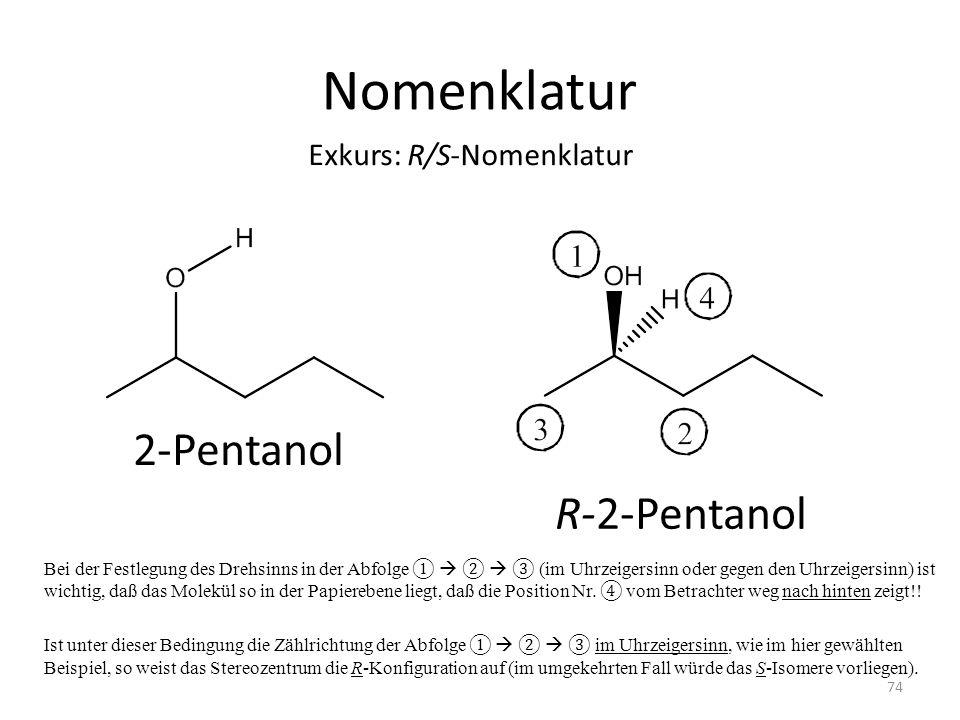 Nomenklatur Bei der Festlegung des Drehsinns in der Abfolge (im Uhrzeigersinn oder gegen den Uhrzeigersinn) ist wichtig, daß das Molekül so in der Papierebene liegt, daß die Position Nr.
