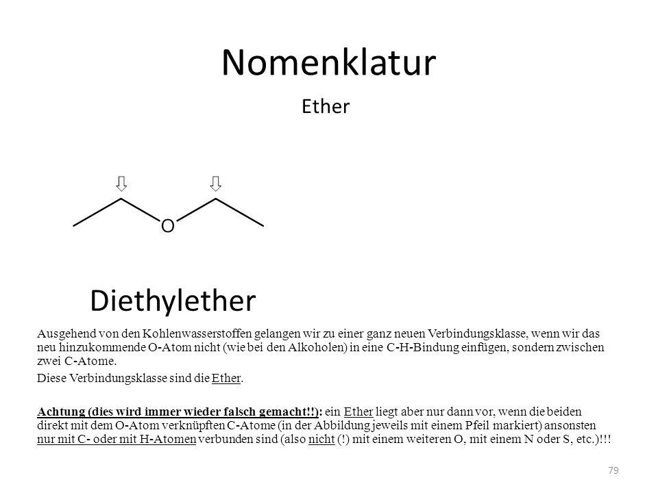 Nomenklatur Ausgehend von den Kohlenwasserstoffen gelangen wir zu einer ganz neuen Verbindungsklasse, wenn wir das neu hinzukommende O-Atom nicht (wie bei den Alkoholen) in eine C-H-Bindung einfügen, sondern zwischen zwei C-Atome.