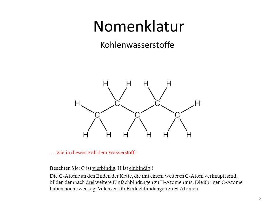 Nomenklatur … wie in diesem Fall dem Wasserstoff. Beachten Sie: C ist vierbindig, H ist einbindig!! Die C-Atome an den Enden der Kette, die mit einem