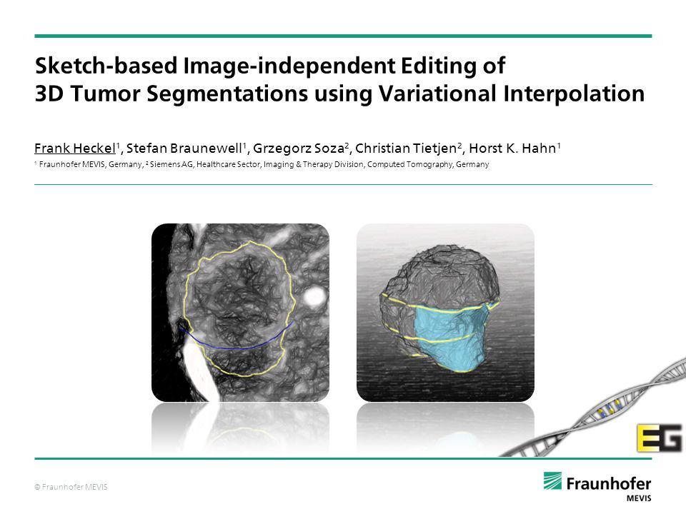 © Fraunhofer MEVIS 1 / 15Frank Heckel et al.Sketch-based Image-independent Editing of 3D Tumor Segmentations28.