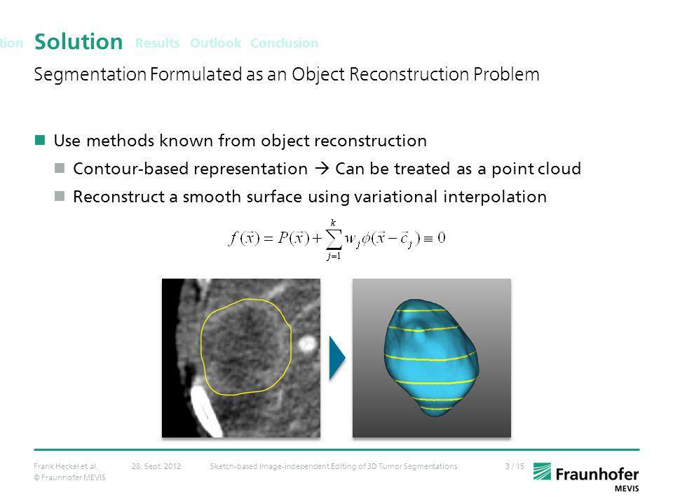 © Fraunhofer MEVIS 3 / 15Frank Heckel et al.Sketch-based Image-independent Editing of 3D Tumor Segmentations28. Sept. 2012 Solution Use methods known