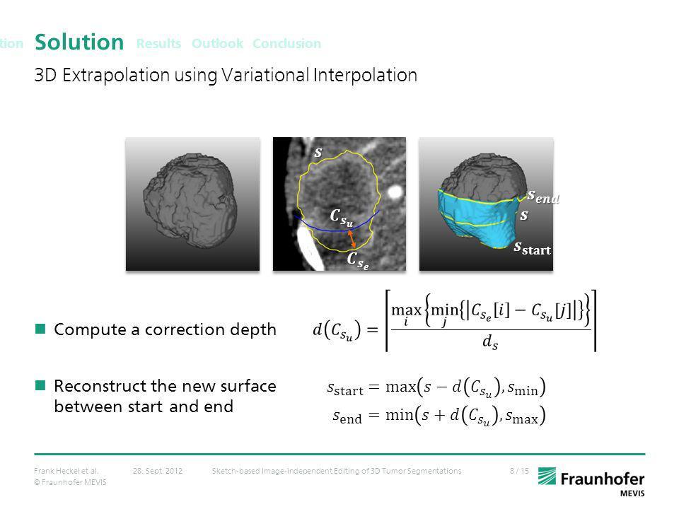 © Fraunhofer MEVIS 8 / 15Frank Heckel et al.Sketch-based Image-independent Editing of 3D Tumor Segmentations28. Sept. 2012 Solution Compute a correcti