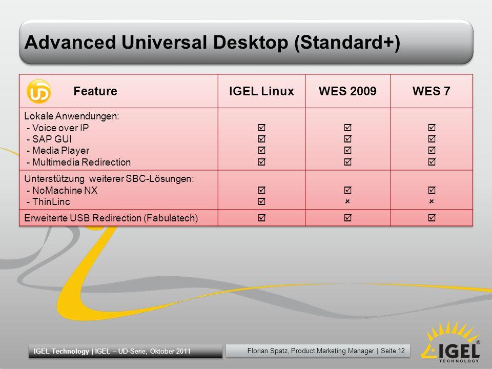 Florian Spatz, Product Marketing Manager | Seite 12 IGEL Technology | IGEL – UD-Serie, Oktober 2011 Advanced Universal Desktop (Standard+)