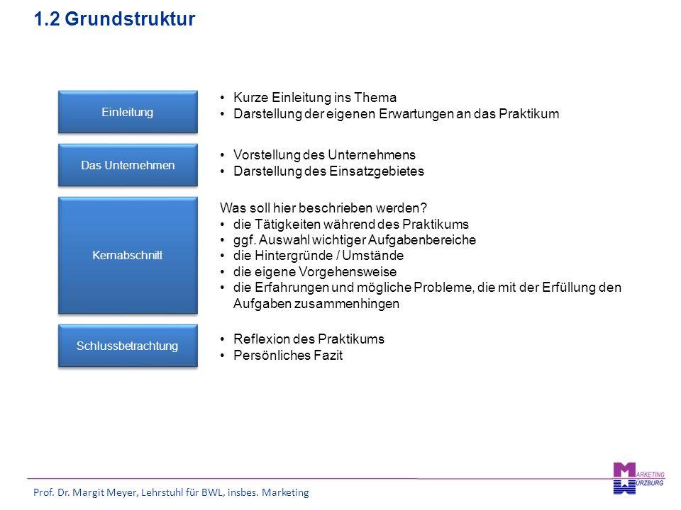 Prof. Dr. Margit Meyer, Lehrstuhl für BWL, insbes. Marketing 1.2 Grundstruktur Einleitung Kurze Einleitung ins Thema Darstellung der eigenen Erwartung