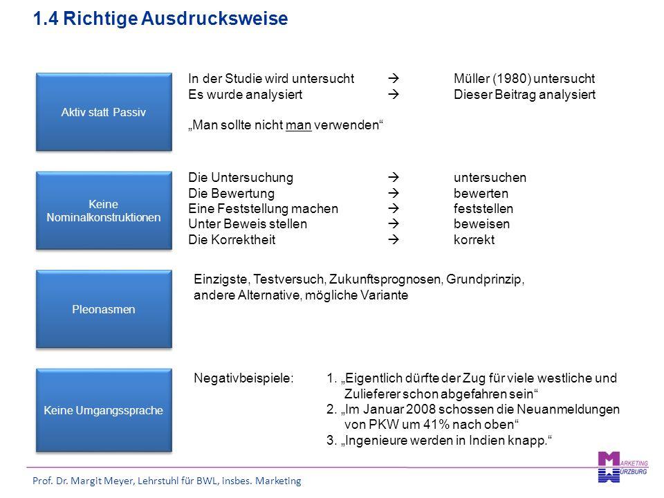 Prof. Dr. Margit Meyer, Lehrstuhl für BWL, insbes. Marketing 1.4 Richtige Ausdrucksweise Aktiv statt Passiv Keine Nominalkonstruktionen Pleonasmen In