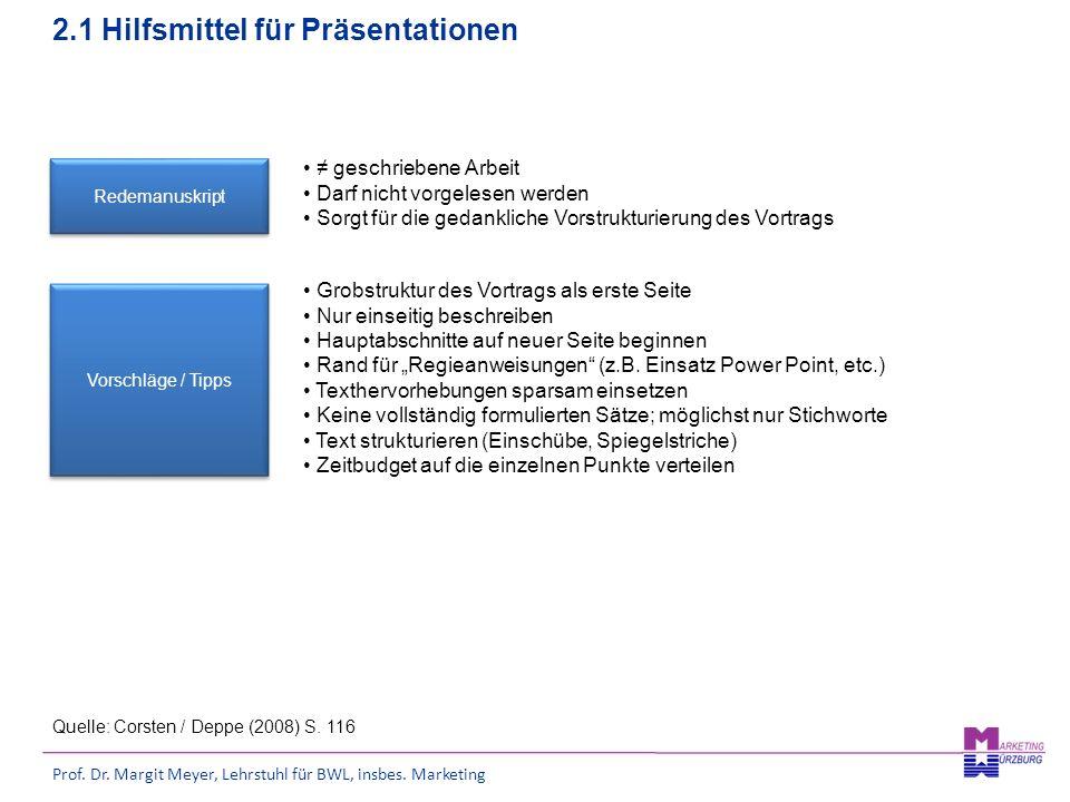 Prof. Dr. Margit Meyer, Lehrstuhl für BWL, insbes. Marketing 2.1 Hilfsmittel für Präsentationen Redemanuskript Vorschläge / Tipps Quelle: Corsten / De