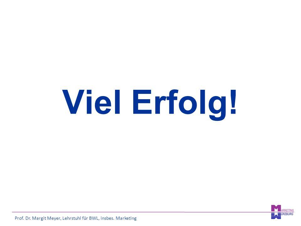 Prof. Dr. Margit Meyer, Lehrstuhl für BWL, insbes. Marketing Viel Erfolg!