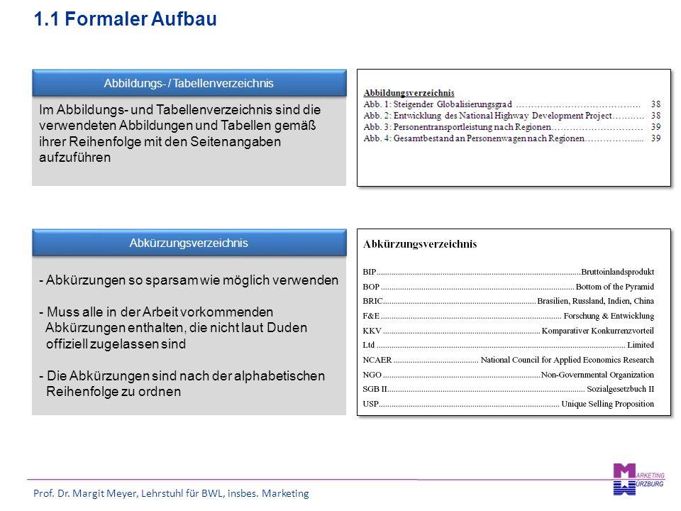 Prof. Dr. Margit Meyer, Lehrstuhl für BWL, insbes. Marketing Im Abbildungs- und Tabellenverzeichnis sind die verwendeten Abbildungen und Tabellen gemä