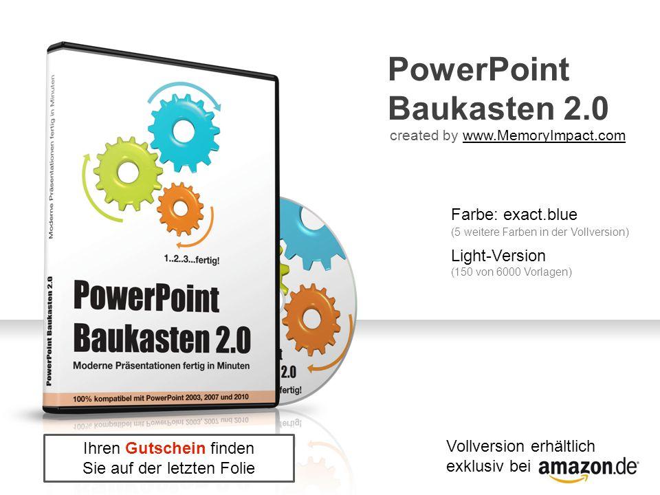 PowerPoint Baukasten 2.0 created by www.MemoryImpact.comwww.MemoryImpact.com Farbe: exact.blue Light-Version (150 von 6000 Vorlagen) (5 weitere Farben