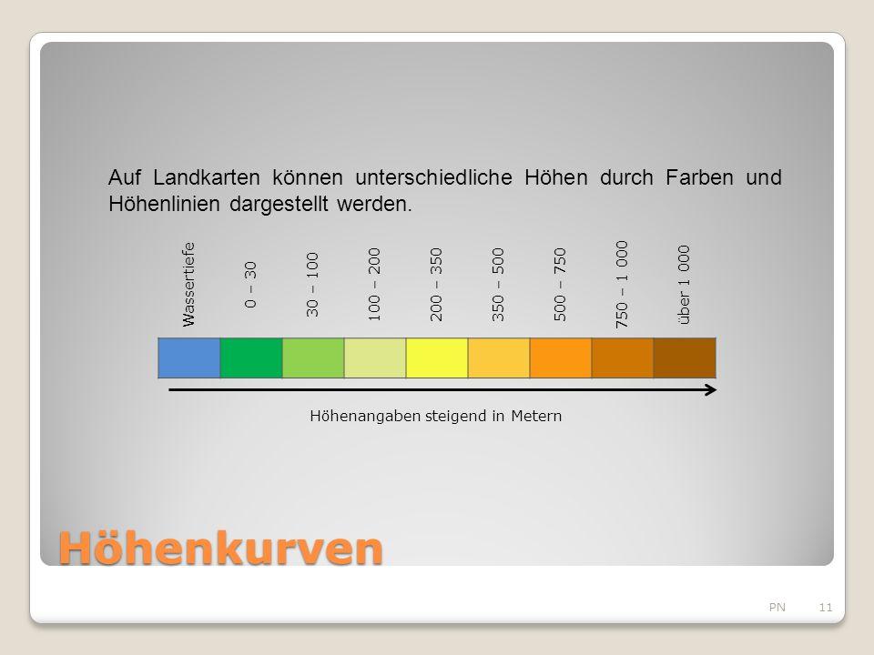Höhenkurven PN11 Wassertiefe 0 – 30 30 – 100 100 – 200200 – 350350 – 500500 – 750 750 – 1 000 über 1 000 Höhenangaben steigend in Metern Auf Landkarten können unterschiedliche Höhen durch Farben und Höhenlinien dargestellt werden.