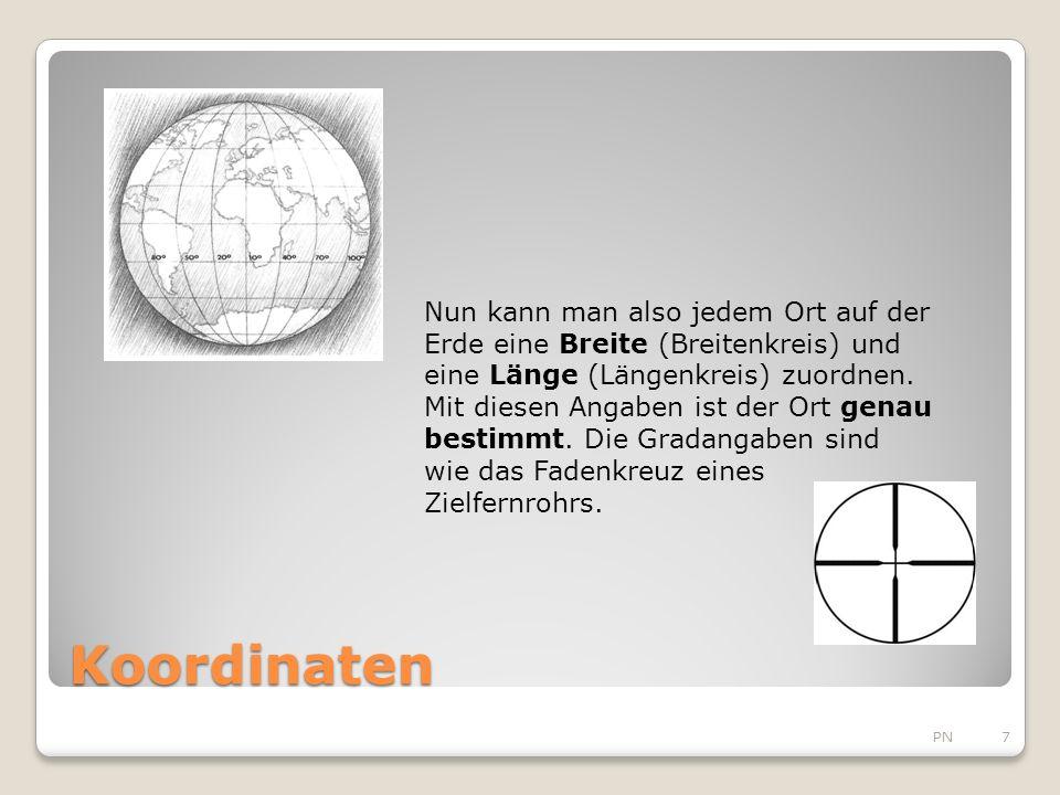 Koordinaten PN7 Nun kann man also jedem Ort auf der Erde eine Breite (Breitenkreis) und eine Länge (Längenkreis) zuordnen.