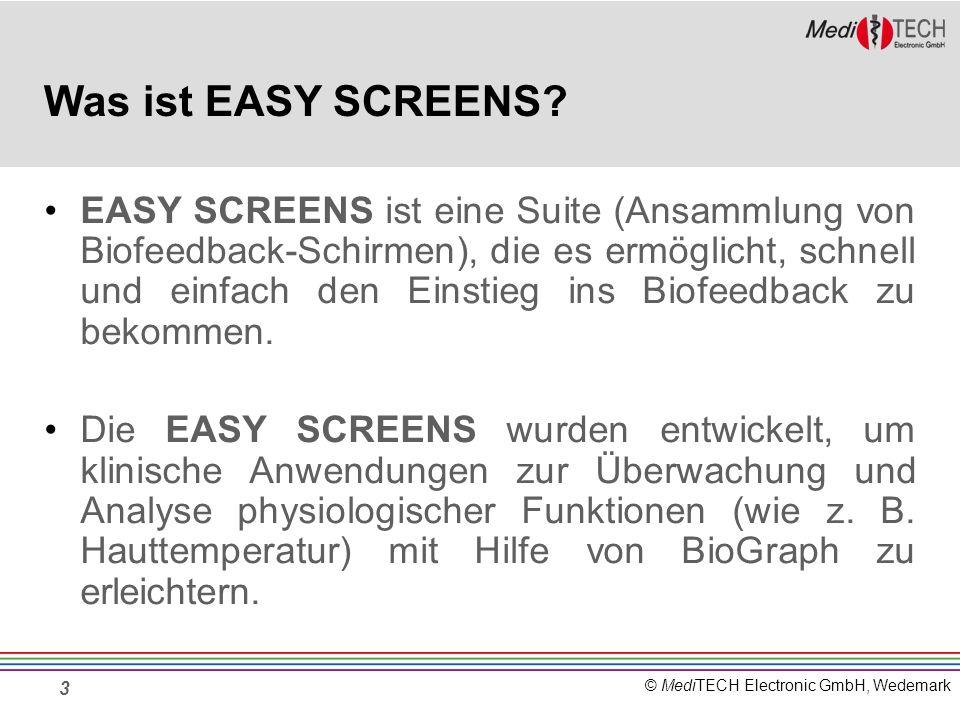 © MediTECH Electronic GmbH, Wedemark 14 Aufbau eines Bildschirms Durchschnitts- wert alle 5 Sekunden Einfaches Bal- keninstrument Einfaches Linieninstrument Wert des Signals als Zahl