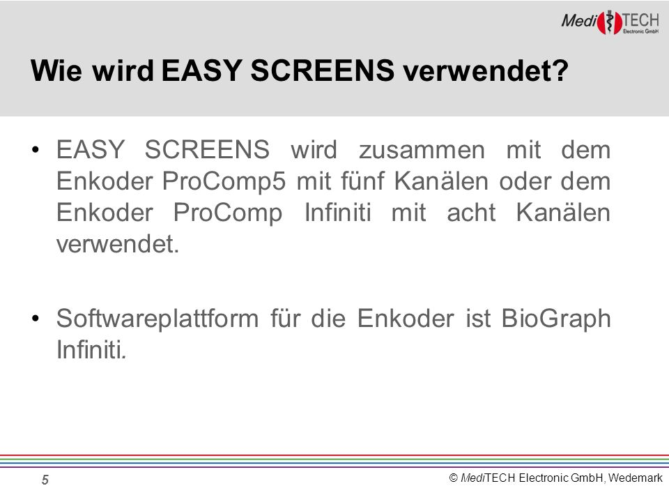 © MediTECH Electronic GmbH, Wedemark 16 Kombinationsmöglichkeiten Beispiel: Kombination von 5 Signalen rechts am Rand sind die jeweiligen Farben der ausgewählten Signale dargestellt