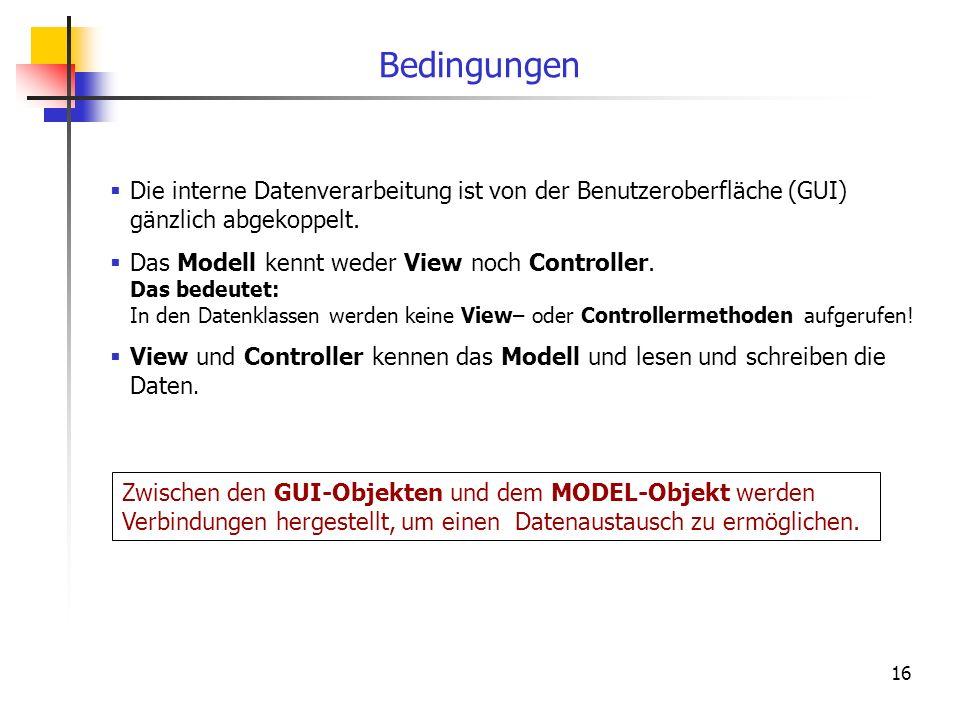16 Bedingungen Die interne Datenverarbeitung ist von der Benutzeroberfläche (GUI) gänzlich abgekoppelt. Das Modell kennt weder View noch Controller. D