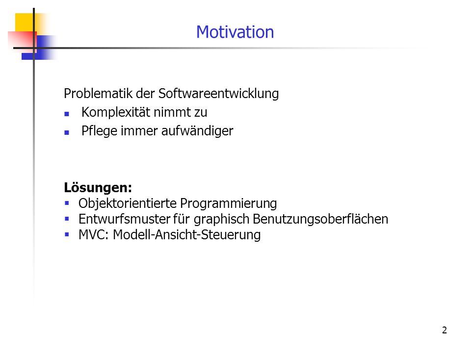 2 Motivation Problematik der Softwareentwicklung Komplexität nimmt zu Pflege immer aufwändiger Lösungen: Objektorientierte Programmierung Entwurfsmust