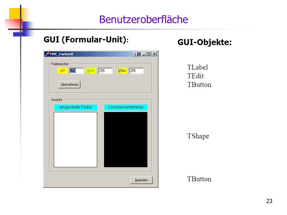 23 GUI (Formular-Unit) : GUI-Objekte: TLabel TEdit TButton TShape TButton Benutzeroberfläche