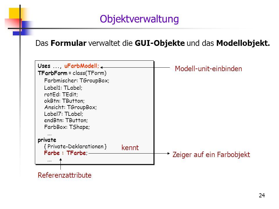 24 Das Formular verwaltet die GUI-Objekte und das Modellobjekt. Uses..., uFarbModell; TFarbForm = class(TForm) Farbmischer: TGroupBox; Label1: TLabel;