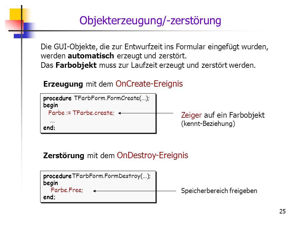 25 Die GUI-Objekte, die zur Entwurfzeit ins Formular eingefügt wurden, werden automatisch erzeugt und zerstört. Das Farbobjekt muss zur Laufzeit erzeu