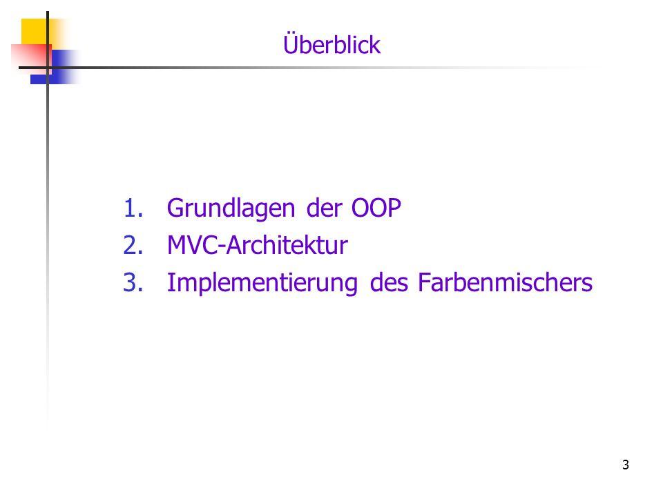 3 Überblick 1.Grundlagen der OOP 2.MVC-Architektur 3.Implementierung des Farbenmischers