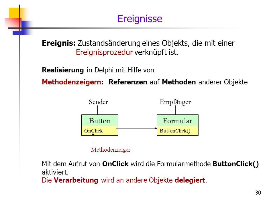 30 Ereignis: Zustandsänderung eines Objekts, die mit einer Ereignisprozedur verknüpft ist. Realisierung in Delphi mit Hilfe von Methodenzeigern: Refer