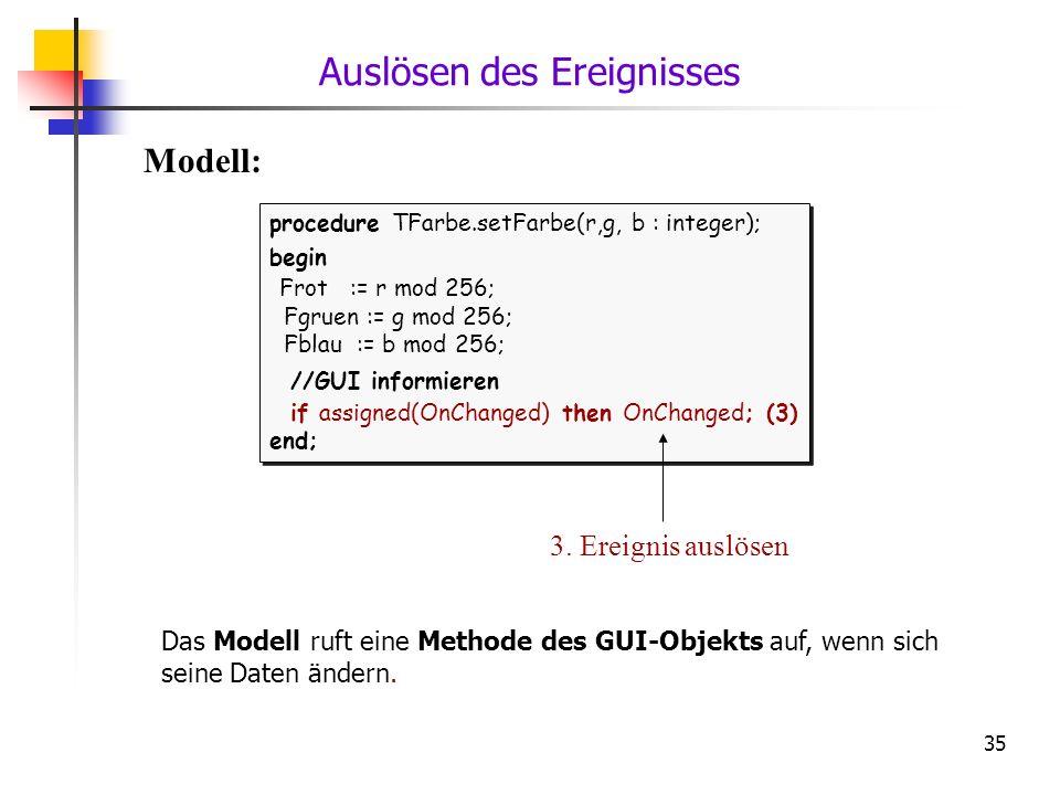 35 procedure TFarbe.setFarbe(r,g, b : integer); begin Frot := r mod 256; Fgruen := g mod 256; Fblau := b mod 256; //GUI informieren if assigned(OnChan