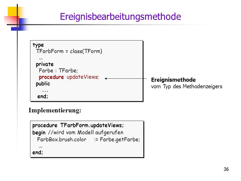 36 type TFarbForm = class(TForm)... private Farbe : TFarbe; procedure updateViews; public... end; type TFarbForm = class(TForm)... private Farbe : TFa