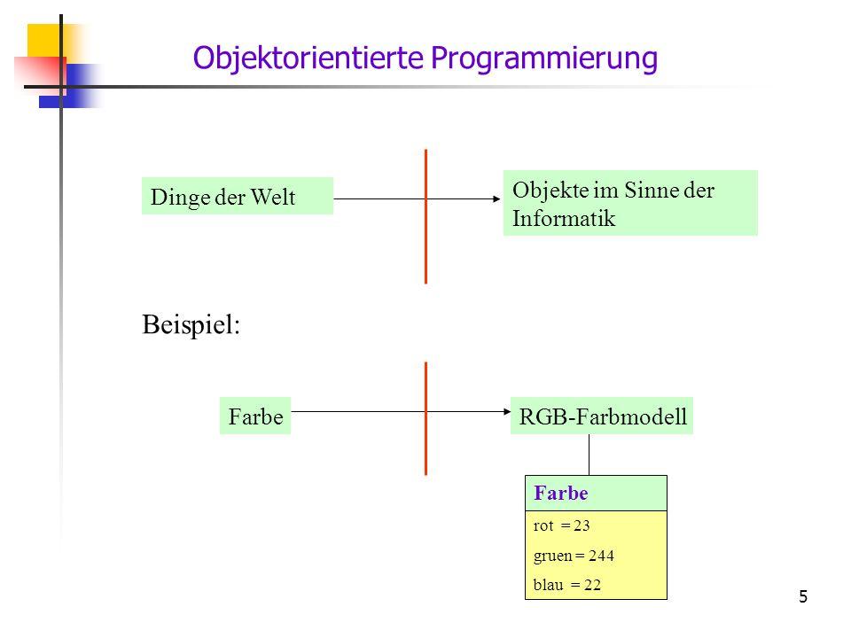 5 Dinge der Welt Objekte im Sinne der Informatik Farbe rot = 23 gruen = 244 blau = 22 FarbeRGB-Farbmodell Beispiel: Objektorientierte Programmierung
