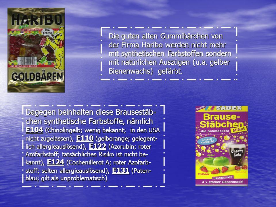 Die guten alten Gummibärchen von der Firma Haribo werden nicht mehr mit synthetischen Farbstoffen sondern mit natürlichen Auszügen (u.a. gelber Bienen