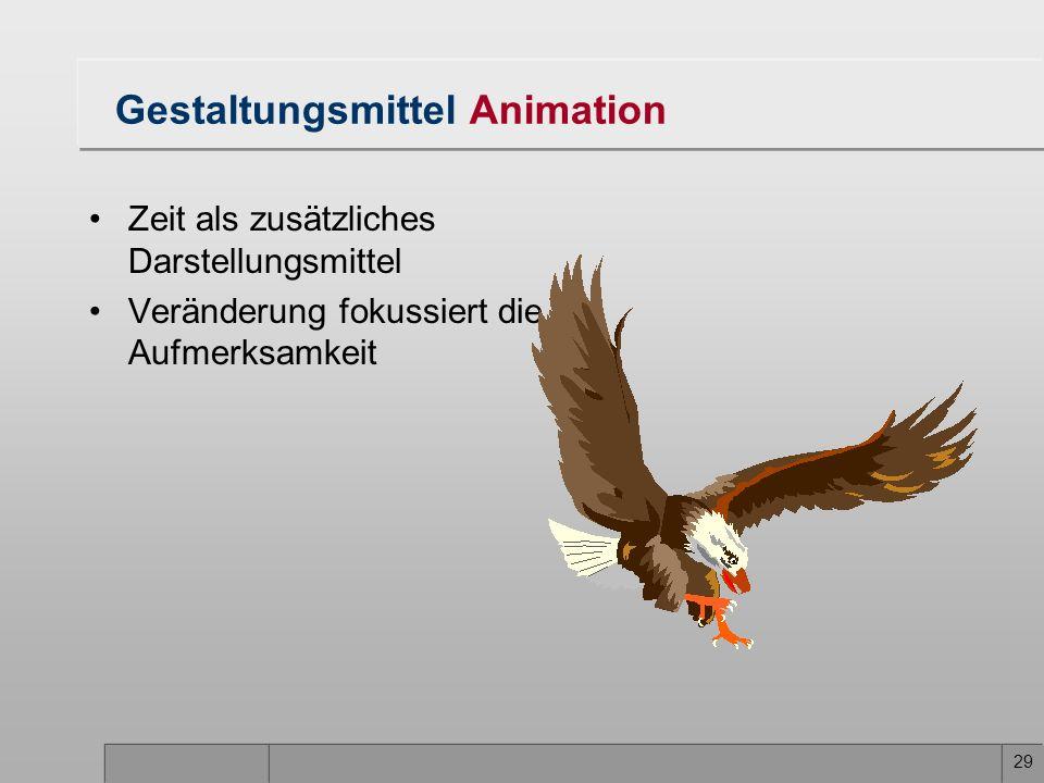 29 Gestaltungsmittel Animation Zeit als zusätzliches Darstellungsmittel Veränderung fokussiert die Aufmerksamkeit