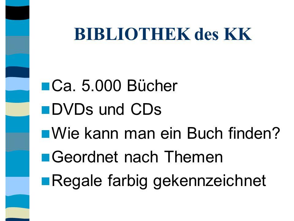 BIBLIOTHEK des KK Ca. 5.000 Bücher DVDs und CDs Wie kann man ein Buch finden? Geordnet nach Themen Regale farbig gekennzeichnet