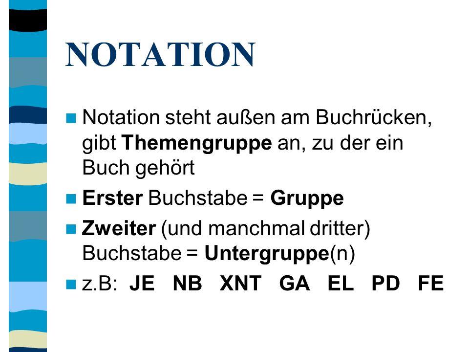 NOTATION Notation steht außen am Buchrücken, gibt Themengruppe an, zu der ein Buch gehört Erster Buchstabe = Gruppe Zweiter (und manchmal dritter) Buchstabe = Untergruppe(n) z.B: JE NB XNT GA EL PD FE