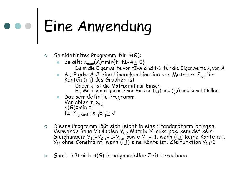 Eine Anwendung Semidefinites Programm für (G): Es gilt: max (A)=min{t: tI-A ¸ 0} Denn die Eigenwerte von tI-A sind t- i für die Eigenwerte i von A A 2