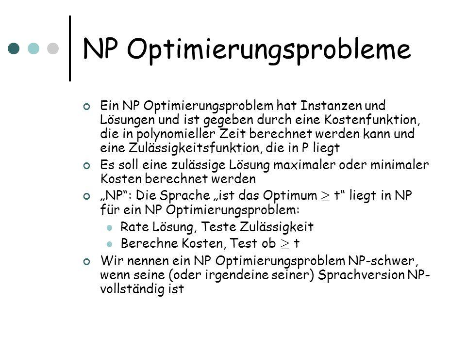 NP Optimierungsprobleme Ein NP Optimierungsproblem hat Instanzen und Lösungen und ist gegeben durch eine Kostenfunktion, die in polynomieller Zeit ber